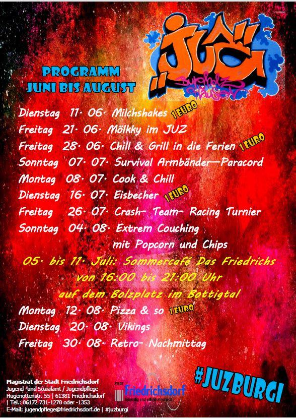JUZ Friedrichsdorf Programm Sommer 2019