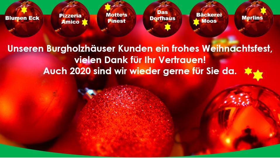 Burgholzhausen Einzelhandel und Gastronomie Weihnachtsgruss 2019
