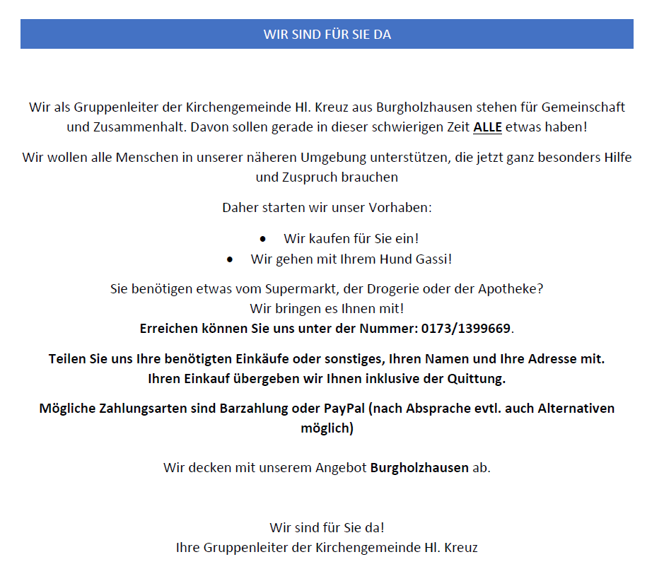 Hilfsaktions Burgholzhausen Corona