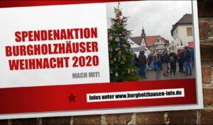 Spendenaktion Burgholzhäuser Weihnacht 2020 Holzhäuser Weihnacht